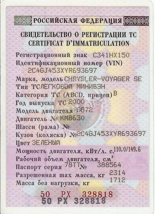 Свидетельства о регистрации ТС