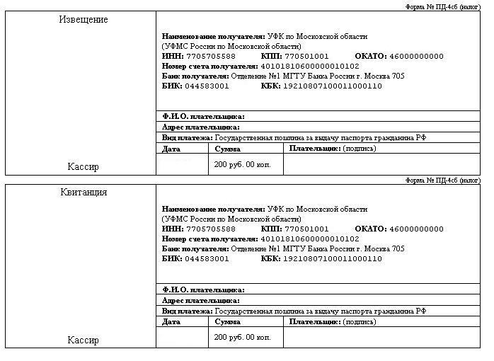 Квитанция за выдачу паспорта гражданина РФ