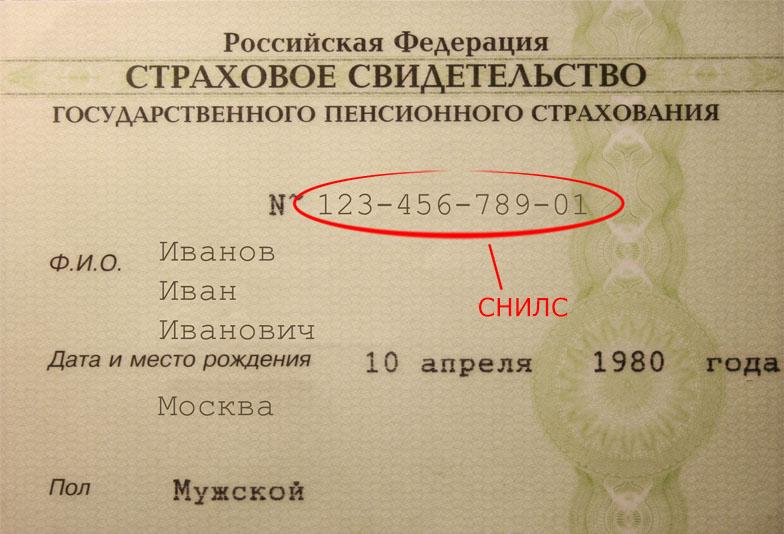 Номер СНИЛС гражданина России