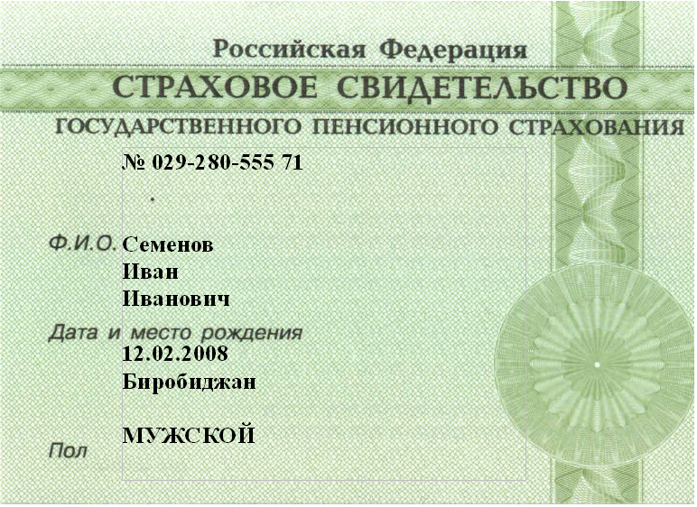 Страховое свидетельство гражданина России