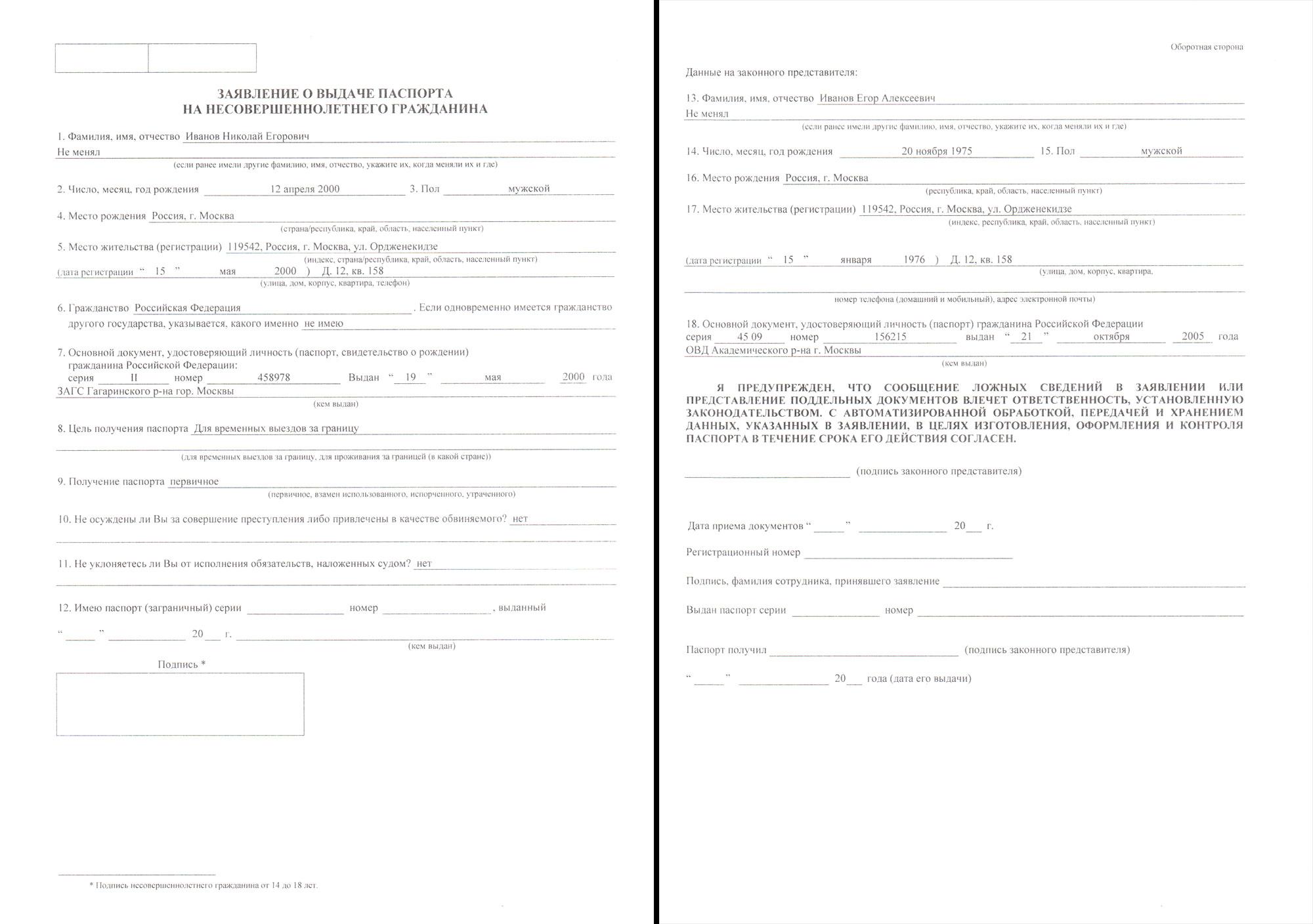 Заявление о выдаче загранпаспорта на несовершеннолетнего гражданина