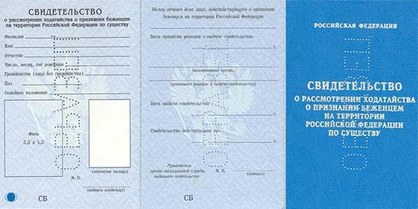 Свидетельство о признании беженцем на территории России