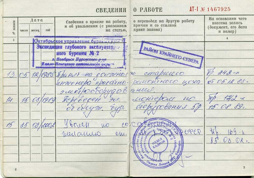 Трудовая книжка гражданина РФ