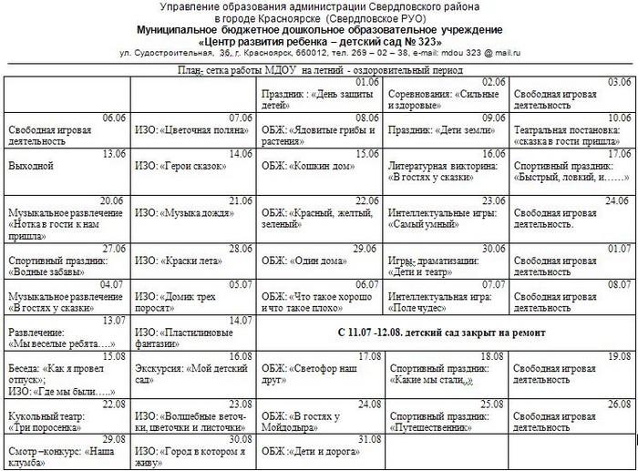 Календарный план воспитателя детсада
