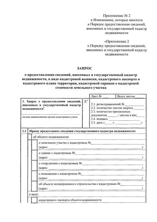 Запрос о выдаче кадастровой выписки