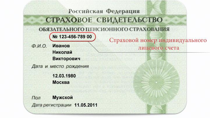 Фото страхового свидетельства гражданина России