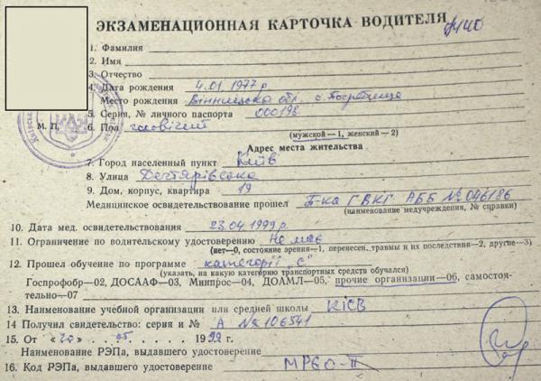 Фото экзаменационной карточки водителя