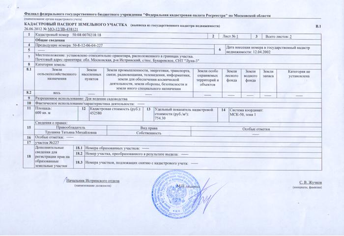 Фото кадастрового паспорта с печатью