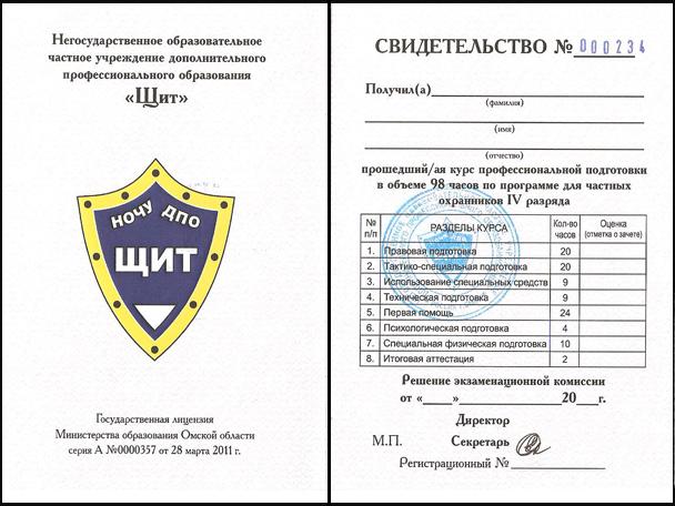Cвидетельство о присвоении квалификации частного охранника