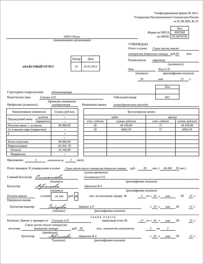 Пример заполнения авансового отчета